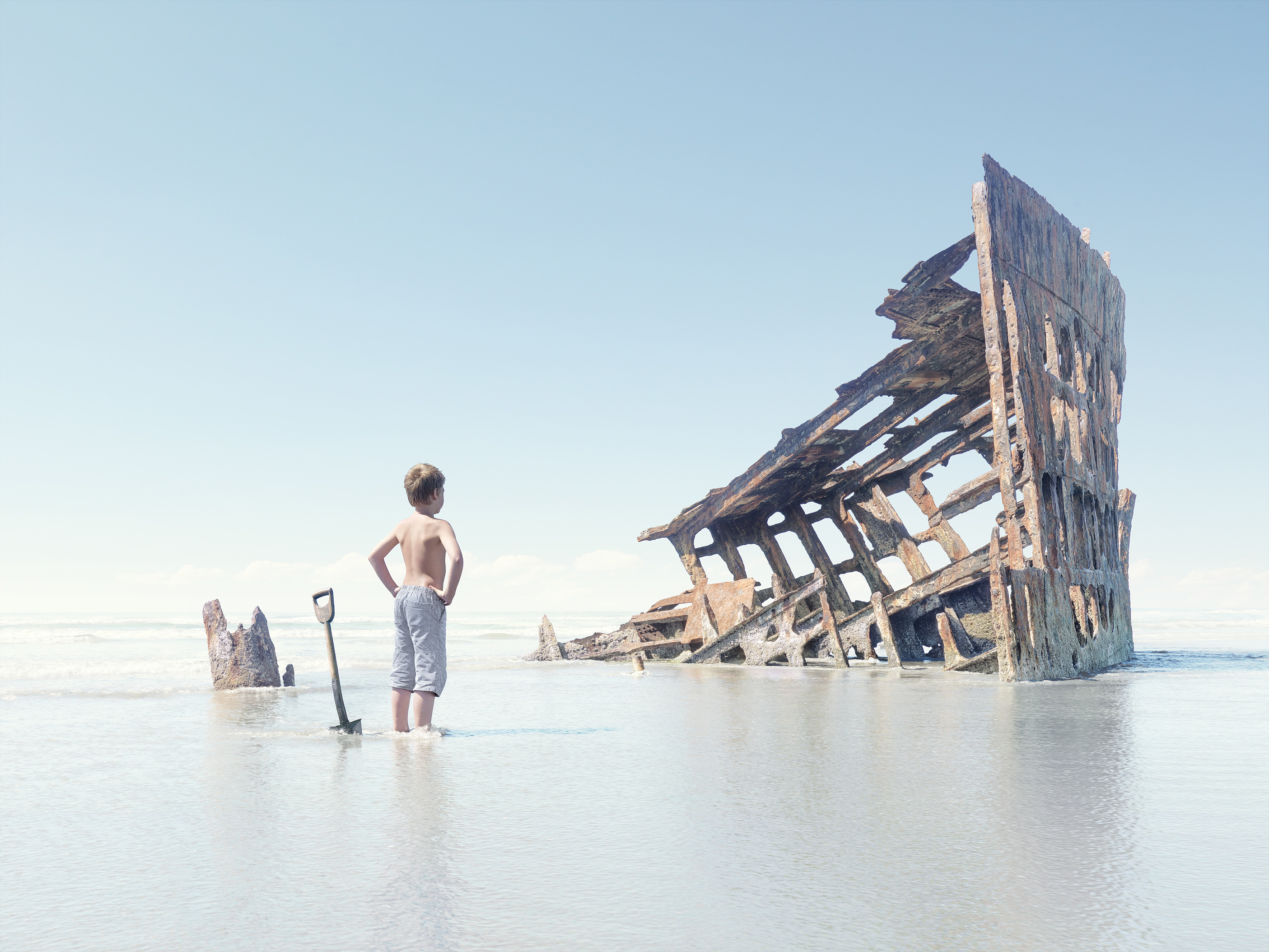 Boy and Shipwreck