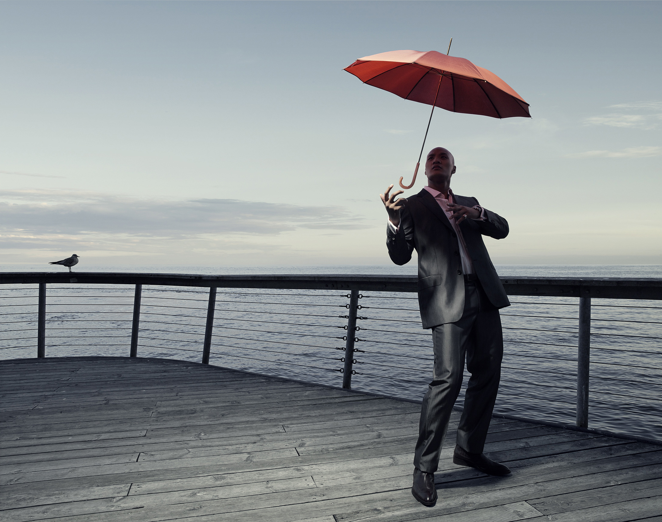 Man with a Red Umbrella